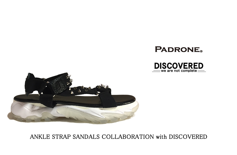 PADRONE パドローネ ANKLE STRAP SANDALS COLLABORATION with DISCOVERED (BLACK)